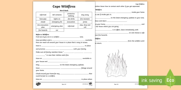 Cape Wildfire Safety Drill Worksheet / Worksheet - Safety