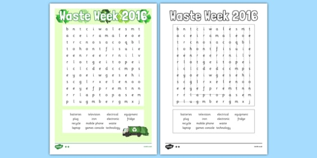 Waste Week 2016 Differentiated Word Search - Waste Week, Eco-schools, WEEE, waste electrical and electronic equipment, technology, recycle, reuse, wordsearch.