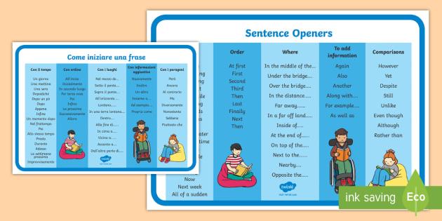 new sentence openers word mat english italian sentence openers mat. Black Bedroom Furniture Sets. Home Design Ideas