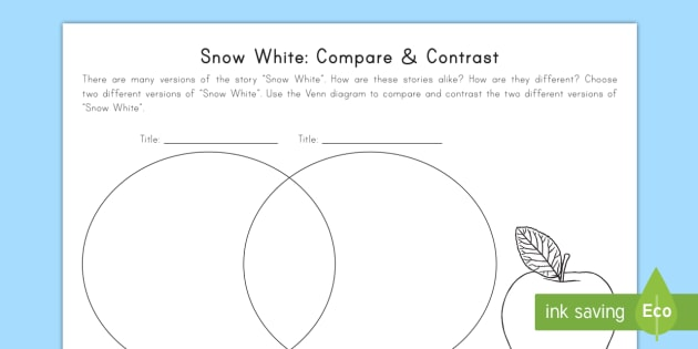Snow White Compare And Contrast Worksheet Activity Sheet