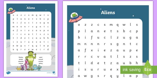 KS1 Aliens Word Search (teacher made)