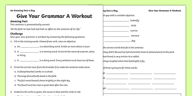 Give Your Grammar A Workout Worksheet - English Resources
