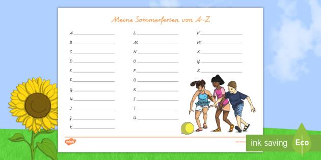 NEW * Meine Sommerferien von A bis Z Arbeitsblatt