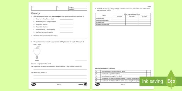 KS3 Gravity Homework Activity Sheet