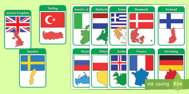 20 Laminated Countries of Asia Flashcards.