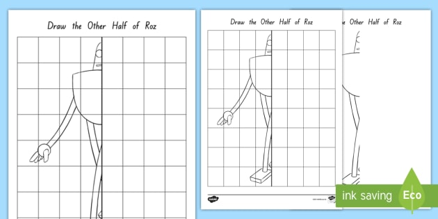 Roz the Robot Draw the Other Half Worksheet / Activity Sheet to