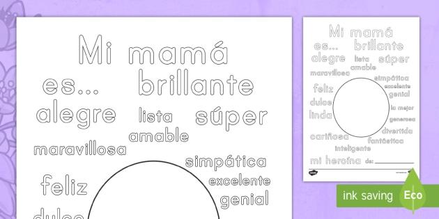 Hoja de colorear: Palabras para describir a mamá - Día de las Madres.