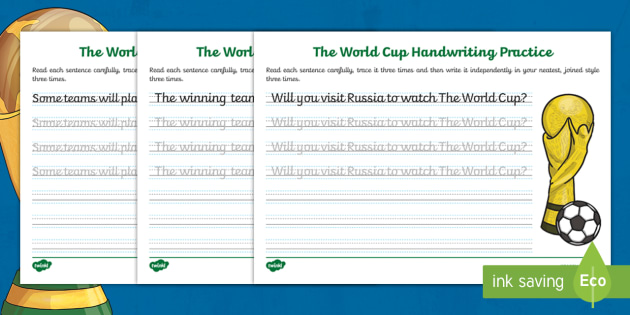 new eyfs ks1 the journey to cursive the world cup handwriting practice. Black Bedroom Furniture Sets. Home Design Ideas