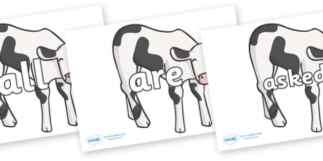Tricky Words on Cows - Tricky words, DfES Letters and Sounds, Letters and sounds, display, words