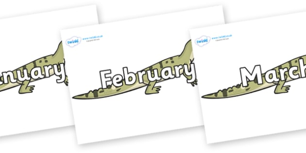 Months of the Year on Aligator - Months of the Year, Months poster, Months display, display, poster, frieze, Months, month, January, February, March, April, May, June, July, August, September