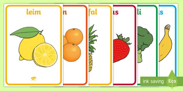 Arwyddion Siop Ffrwythau a Llysiau - onion, nionyn, peren, gellygen, pear, peach, eirin, eirin wlanog, banana, broccoli, broccoli, sprout