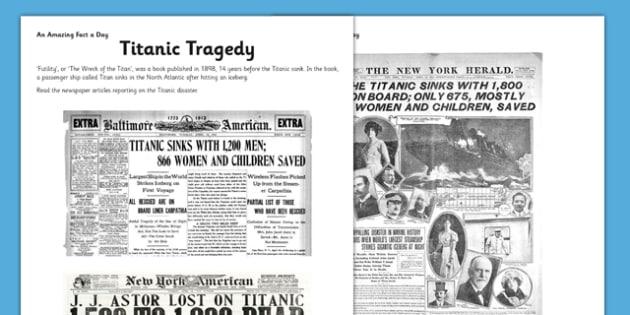 titanic tragedy worksheet activity sheet titanic newspaper. Black Bedroom Furniture Sets. Home Design Ideas