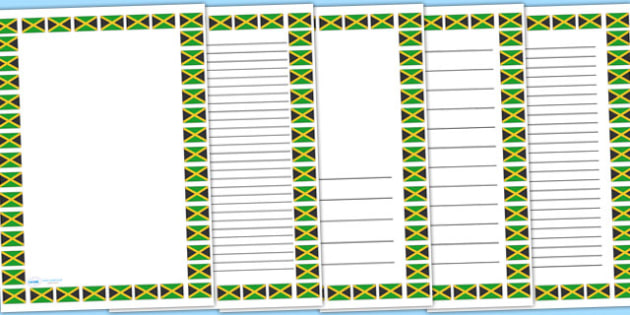 Jamaican flag page borders - jamaica, countries, writing template