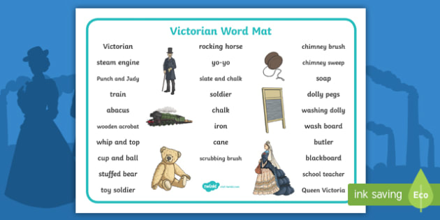 The Victorians Word Mat (Text) -  Victorians, Queen Victoria, 19th century, text, word mat, mat, writing aid, British History, Britain, Victorian toys, Victorian school, butler