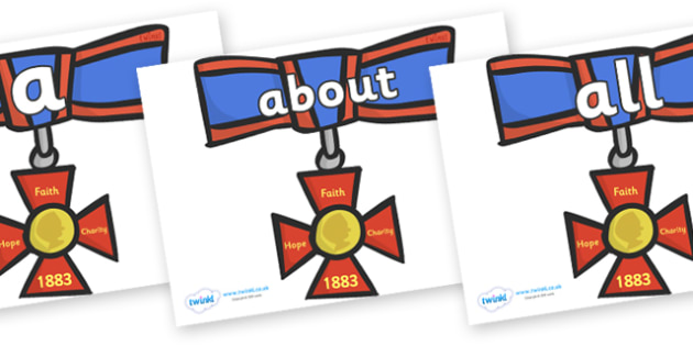 100 High Frequency Words on Medals - High frequency words, hfw, DfES Letters and Sounds, Letters and Sounds, display words