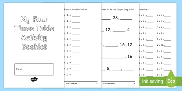 Four Times Table Activity Booklet Cfe Multiplication