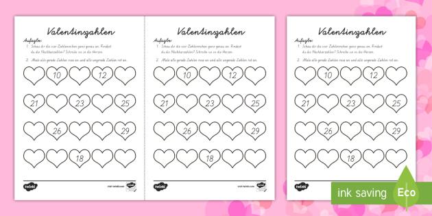 Valentinszahlen Zahlenstrahl - Valentinstag, Zahlen, gerade und