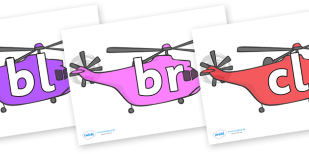 Initial Letter Blends on Helicopter - Initial Letters, initial letter, letter blend, letter blends, consonant, consonants, digraph, trigraph, literacy, alphabet, letters, foundation stage literacy