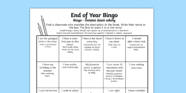 Last Day of School Bingo Activity Sheet Polish Translation - polish, last day of school, bingo, activity, worksheet