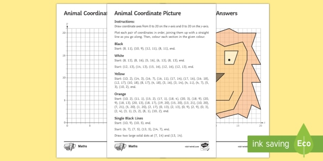 Animal Coordinates Worksheet Coordinate Quadrant Lion