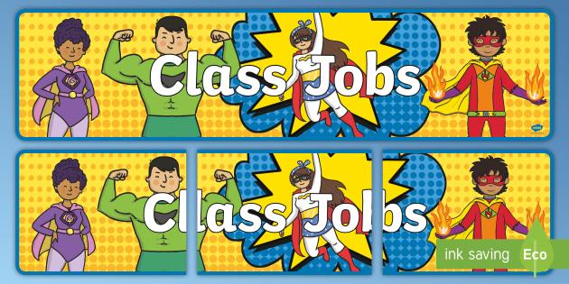 Modern Classroom Jobs ~ New superhero classroom jobs banner back to school