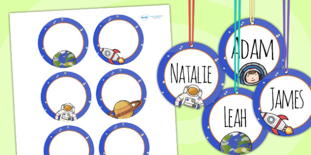 Space Themed Birthday Party Name Tags - parties, birthdays, label