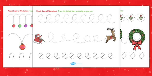 Christmas Pencil Control Worksheets - worksheet, motor, skills