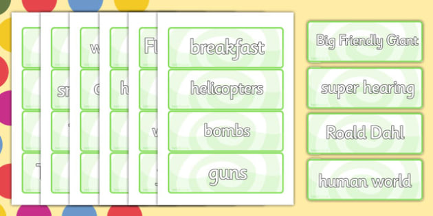 Vocabulary Cards to Support Teaching on The BFG - bfg, vocabulary, word, cards, names