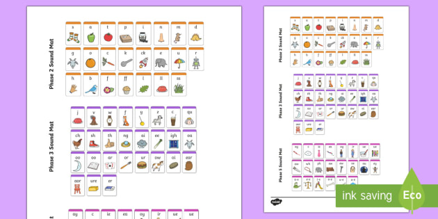 Phase 2 3 And 5 Phonemes Sound Mat Phonics Blends