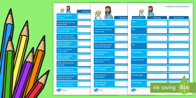 Getting to Know My Teacher Guessing Activity Sheet - Back to School, getting to know you, class introduction, start of the year, transition,Australia, Wo