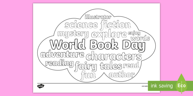 KS2 World Book Day Word Cloud Colouring