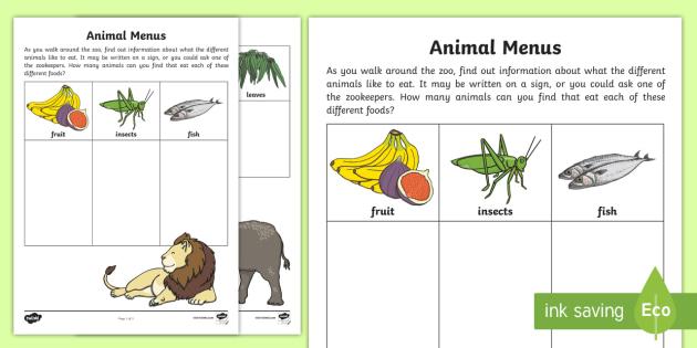 animal menus worksheet worksheet zoo diets science. Black Bedroom Furniture Sets. Home Design Ideas