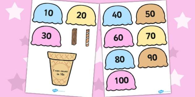 Counting in 10s Ice Cream Cone Ordering Activity - Ice, Cream