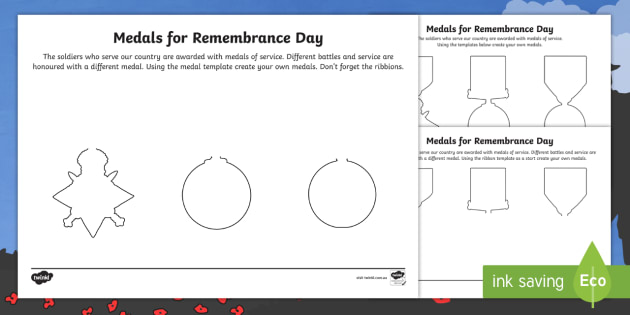 Medals for Remembrance Day Worksheet - World Wars, Australia