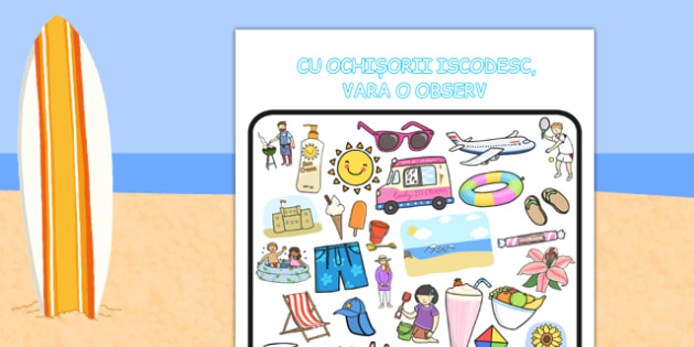 Cu ochișorii iscodesc - Fișă - cu ochișorii iscodesc, fișă de lucru, activitate, joc, vara, înghețată, plajă, atenție, materiale didactice, română, romana, material, material