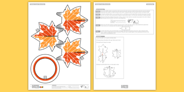 3D Autumn Leaves Decoration Printable - seasons, ks1, ks2, orange, brown, trees, fall, display, paper craft, origami, modelling, model