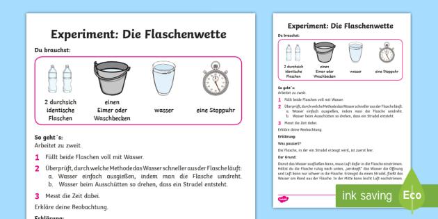 Experiment: Die Flaschenwette Arbeitsblatt - Sommer