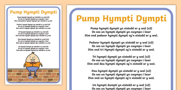 Five Humpty Dumptys Welsh Second Language Song Lyrics-Welsh