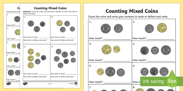 counting mixed coins worksheet worksheet australian currency. Black Bedroom Furniture Sets. Home Design Ideas
