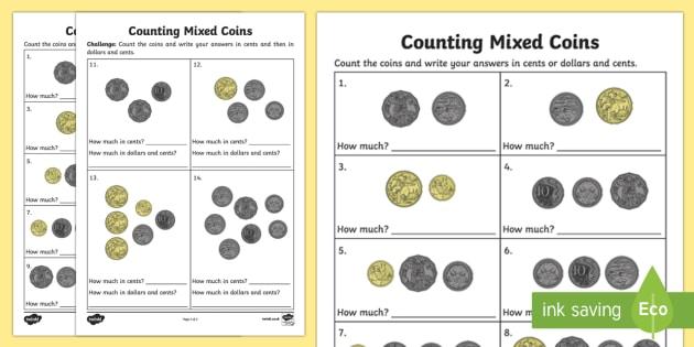 Counting Mixed Coins Activity Sheet - Australian currency moneycurrencycounting, worksheet, Australia