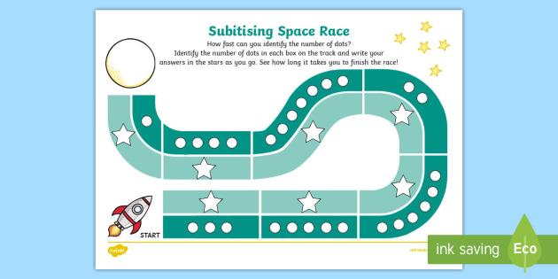 Subitising Race Worksheet / Activity Sheet 1-9 - subitising cards, 1-9, recognising numbers, numbers, recognise, subitising, worksheet