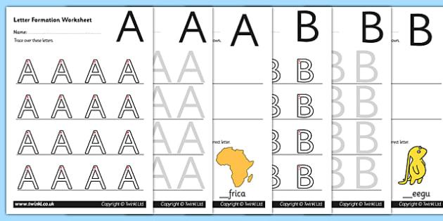 Uppercase AZ Letter Formation Worksheetsletter formation AZ – A-z Worksheets