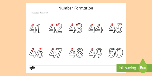 Number Formation Activity Sheet 41-50 - number formation, activity sheet, activity, number, formation, 41-50, worksheet, overwriting