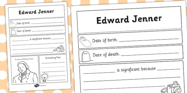 Edward Jenner Significant Individual Writing Frame - writing