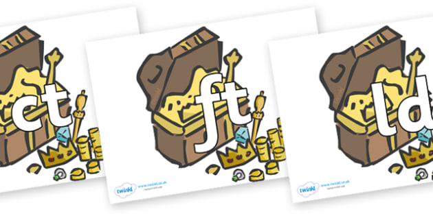 Final Letter Blends on Treasure Chests - Final Letters, final letter, letter blend, letter blends, consonant, consonants, digraph, trigraph, literacy, alphabet, letters, foundation stage literacy