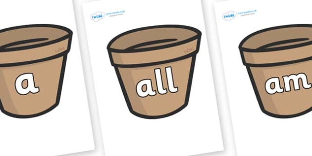 Foundation Stage 2 Keywords on Flower Pots (Plain) - FS2, CLL, keywords, Communication language and literacy,  Display, Key words, high frequency words, foundation stage literacy, DfES Letters and Sounds, Letters and Sounds, spelling