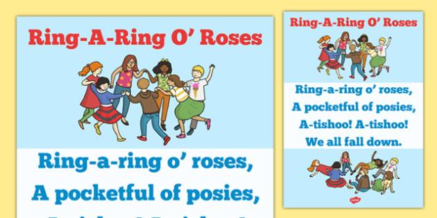 Ring-a-ring O' Roses Song Sheet - song, nursery rhyme, ring, roses
