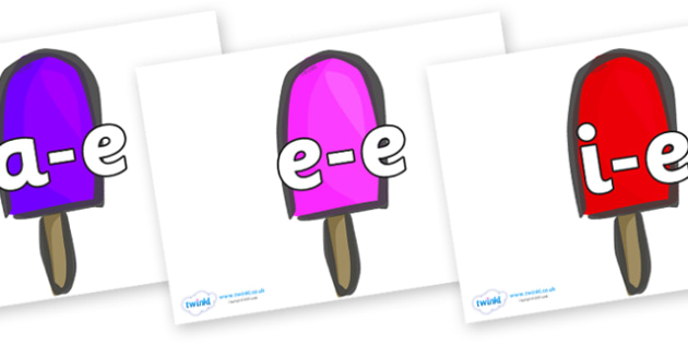 Modifying E Letters on Ice Lollies - Modifying E, letters, modify, Phase 5, Phase five, alternative spellings for phonemes, DfES letters and Sounds