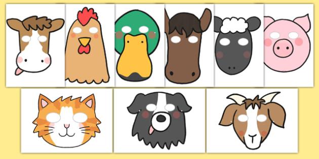 Los animales de la granja Máscaras de juego de rol-Spanish