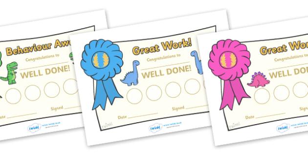 Dinosaur Sticker Reward Certificate (30mm) - Dinosaur Reward Certificate (30mm), dinosaur, reward certificate, certificate, reward, 30mm, 30 mm, stickers, twinkl stickers, award, certificate, well done, behaviour management, behaviour,